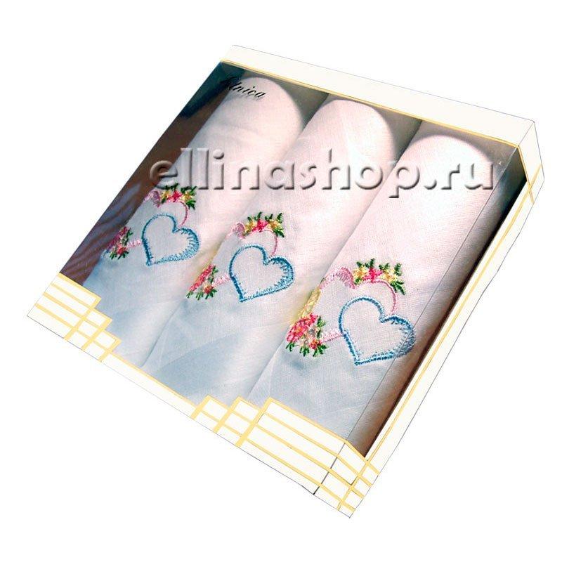 PV32 Набор носовых платков с вышивкой в подарочной упаковке (3шт.)