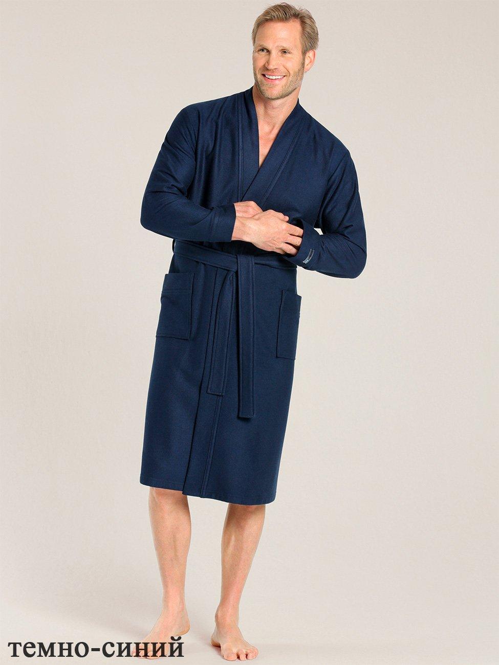 Мужской велюровый халат, т.синий 000650-313 Taubert