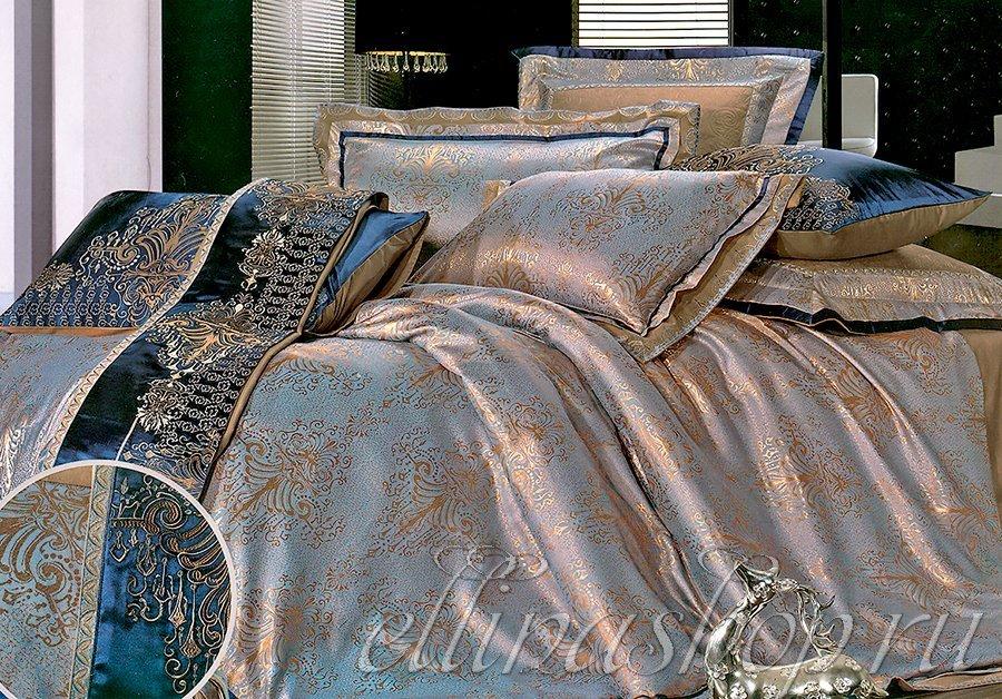 JB-029 Biruza комплект жаккардового белья с вышивкой Afrodita