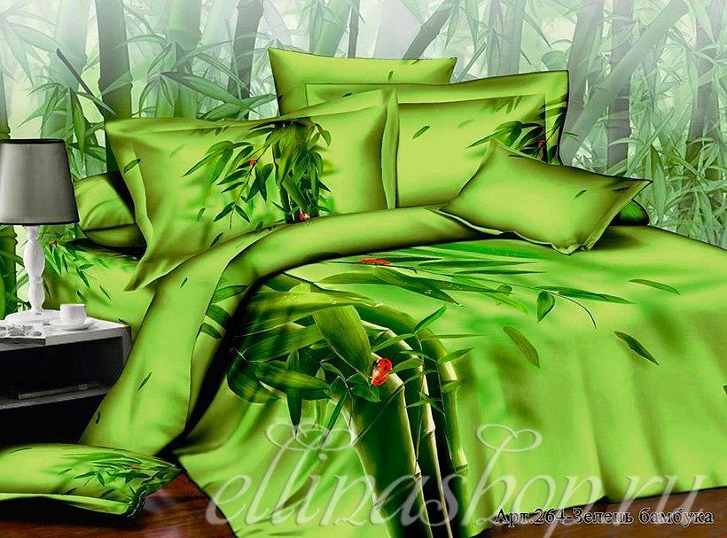 264 Зелень - сатиновый комплект белья Afrodita