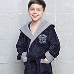 Подростковый халат с капюшоном Atletik junior т.синий FW