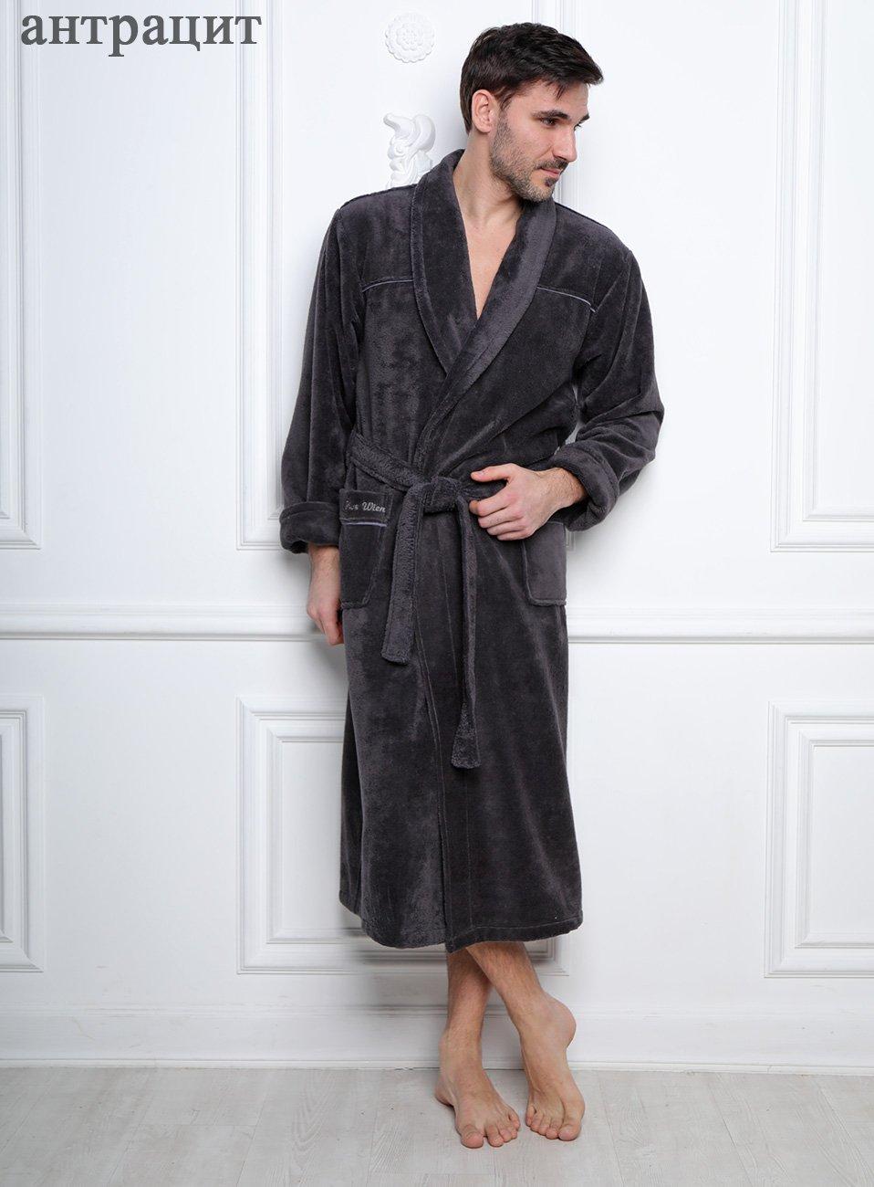 Мужской велюровый халат Dolce антрацит Five wien
