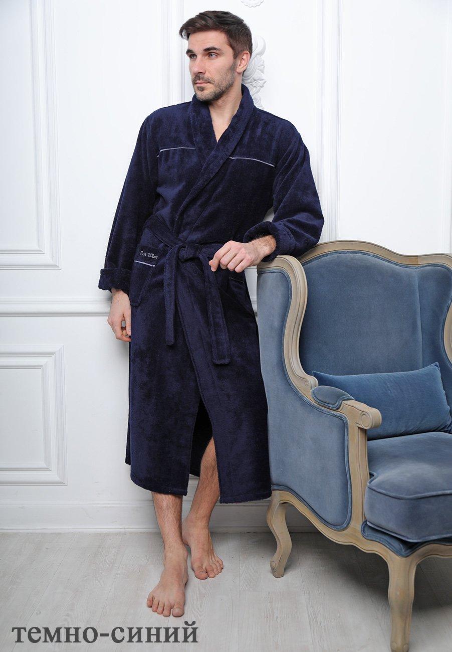 Мужской велюровый халат Dolce темно-синий Five wien