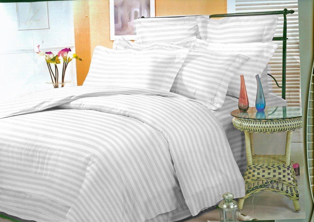 Страйп белый постельное белье из сатина Elin