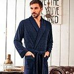 Мужской бамбуковый халат Alan темно-синий Five Wien