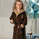 Boys шоколад подростковый халат с капюшоном FW