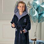 Boys темно-синий подростковый халат с капюшоном FW