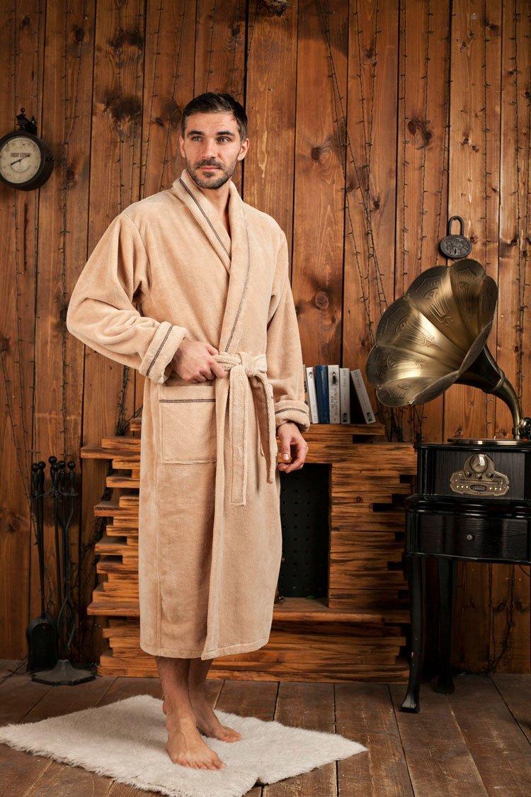 Daniel бежевый бамбуковый мужской халат Five Wien