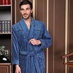 Мужской облегченный халат Dolce темно-голубой Five Wien