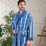 Kurt голубой жаккардовый мужской халат из бамбука FW