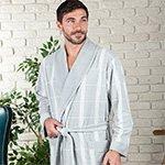 Kurt светло-серый жаккардовый мужской халат из бамбука FW