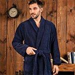 Мужской махровый халат из микрокоттона London синий FW