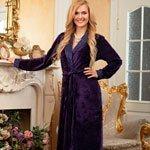 Женский велюровый халат Roshel фиолетовый Five Wien