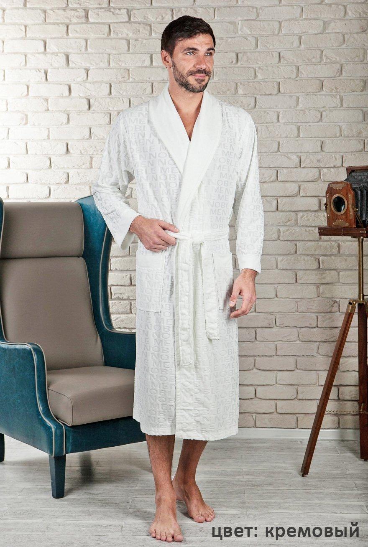 Vipmen кремовый жаккардовый мужской халат из бамбука FW