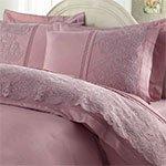 Сатиновый комплект белья с кружевом Elmas лиловый Gelin Home
