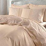 Сатиновый комплект белья с кружевом Elmas светло-бежевый Gelin Home