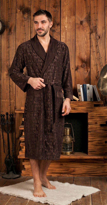 Vipmen шоколадный жаккардовый мужской халат из бамбука FW