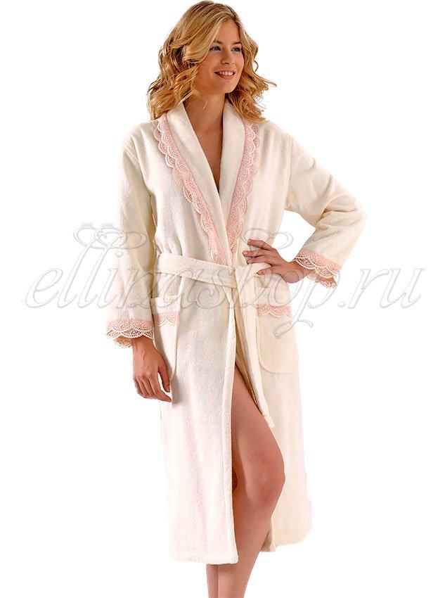 Buket кремовый женский длинный халат Soft Cotton
