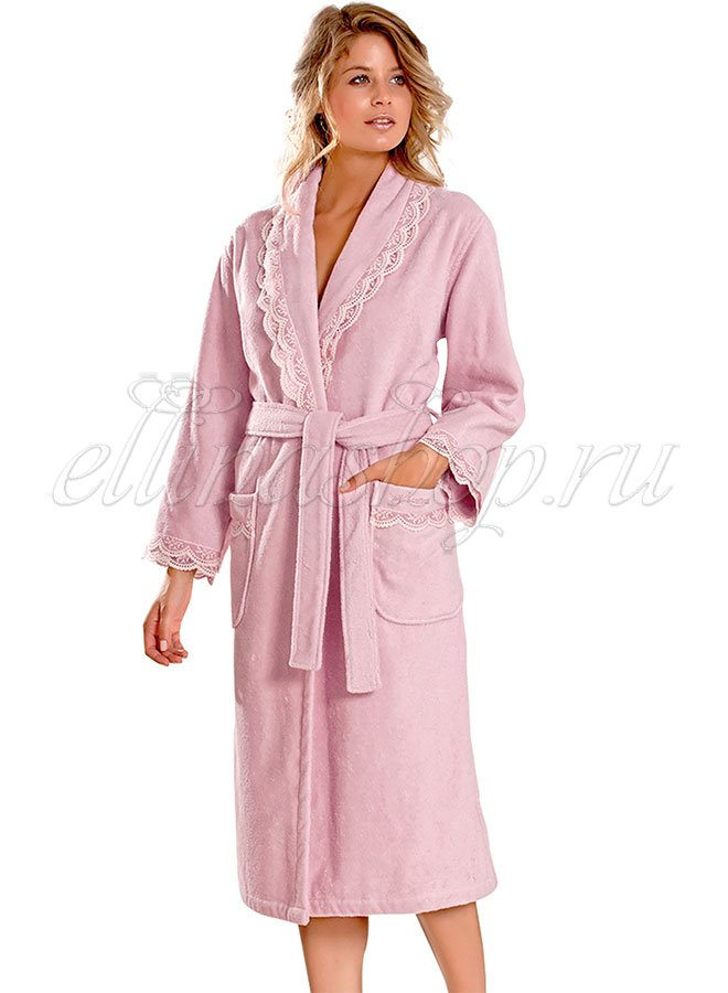 Buket розовый женский длинный халат Soft Cotton
