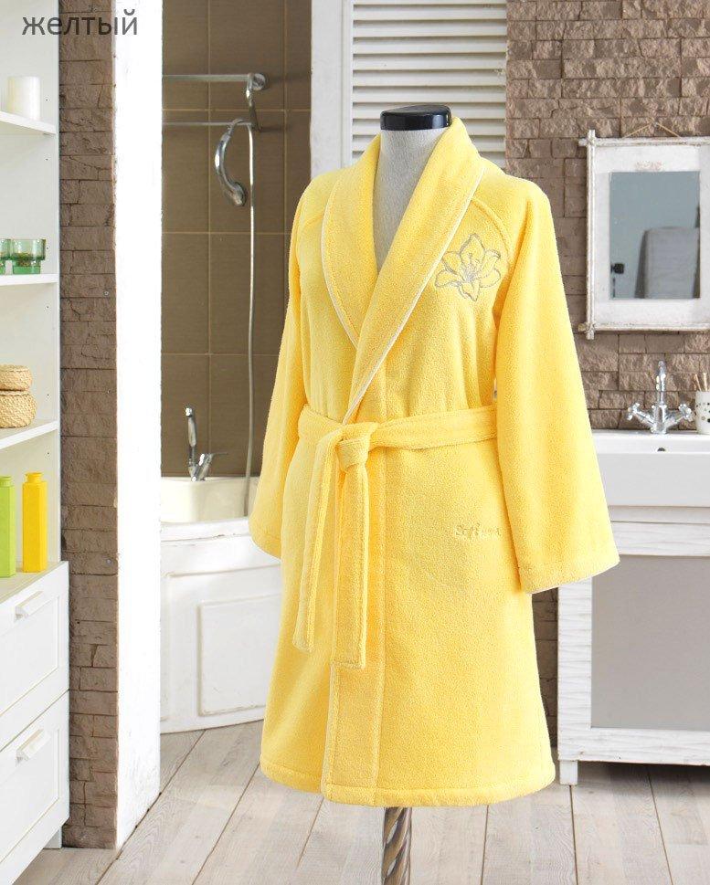Халат махровый Lilium желтый с вышивкой Soft