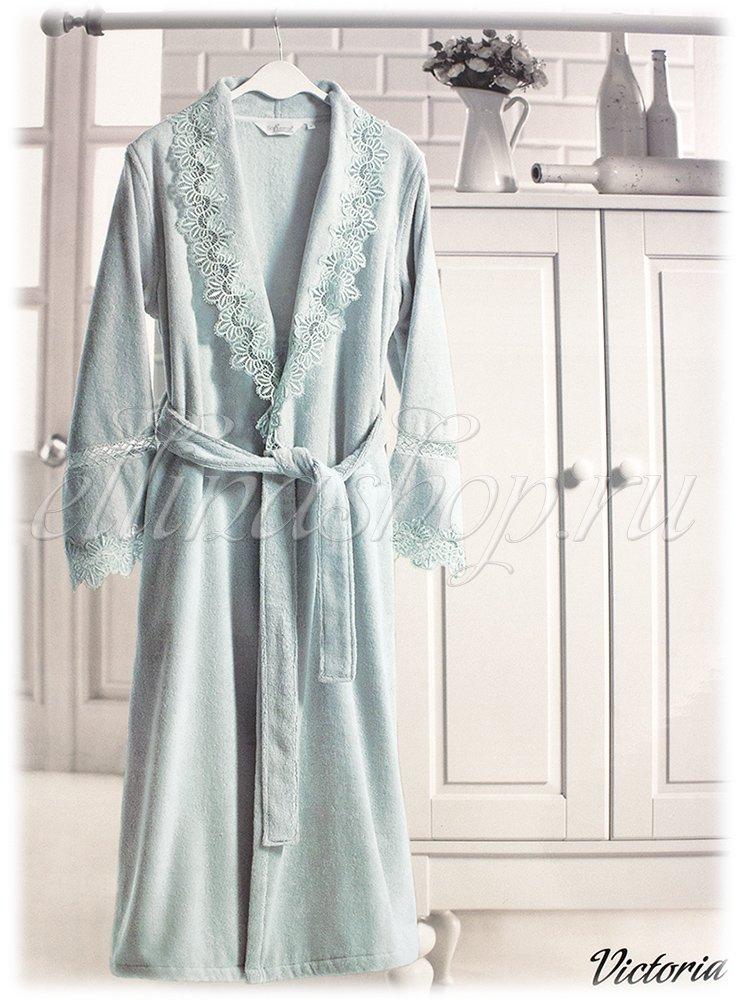 Victoria Женский махровый халат с крежевом Soft