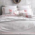 Комплект белья сатин люкс с вышивкой Corallo белый-красный Tivolyo