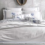 Комплект белья сатин люкс с вышивкой Corallo белый-синий Tivolyo