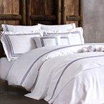 Комплект белья сатин люкс с вышивкой Line белый-синий Tivolyo