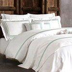 Комплект белья сатин люкс с вышивкой Line крем-бирюзовый Tivolyo