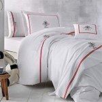 Комплект белья сатин люкс с вышивкой Navy nakisli белый-красный Tivolyo