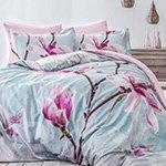 Постельное белье сатин-люкс Orchidea розовый-голубой Tivolyo