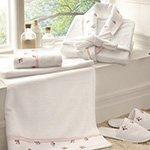 Комплект Piccolo розовый (халат, полотенца 2шт, тапочки) Tivolyo