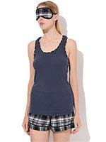 Пижама 3013439 (топ+шорты+маска для сна) Plaid town DKNY