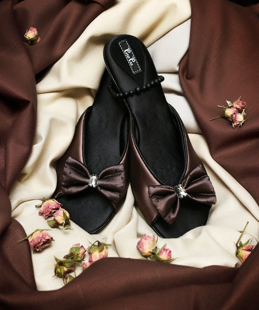 Туфли домашние на каблуке CLBB2 коричневые Бантик Petit Pas