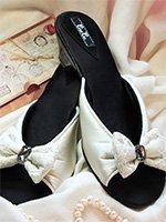 Туфли домашние на каблуке CLBB6 ваниль Бантик Petit Pas