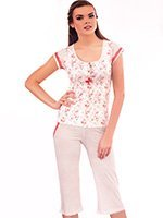 Пижама (футболка, капри) Пионы Metin collection