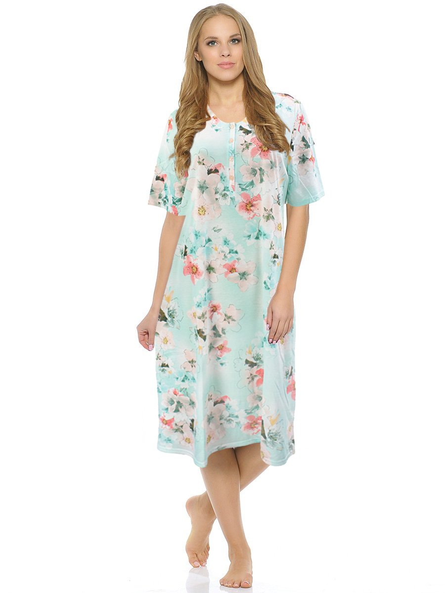761110 Цветы - рубашка ср.длины с коротким рукавом Charmor