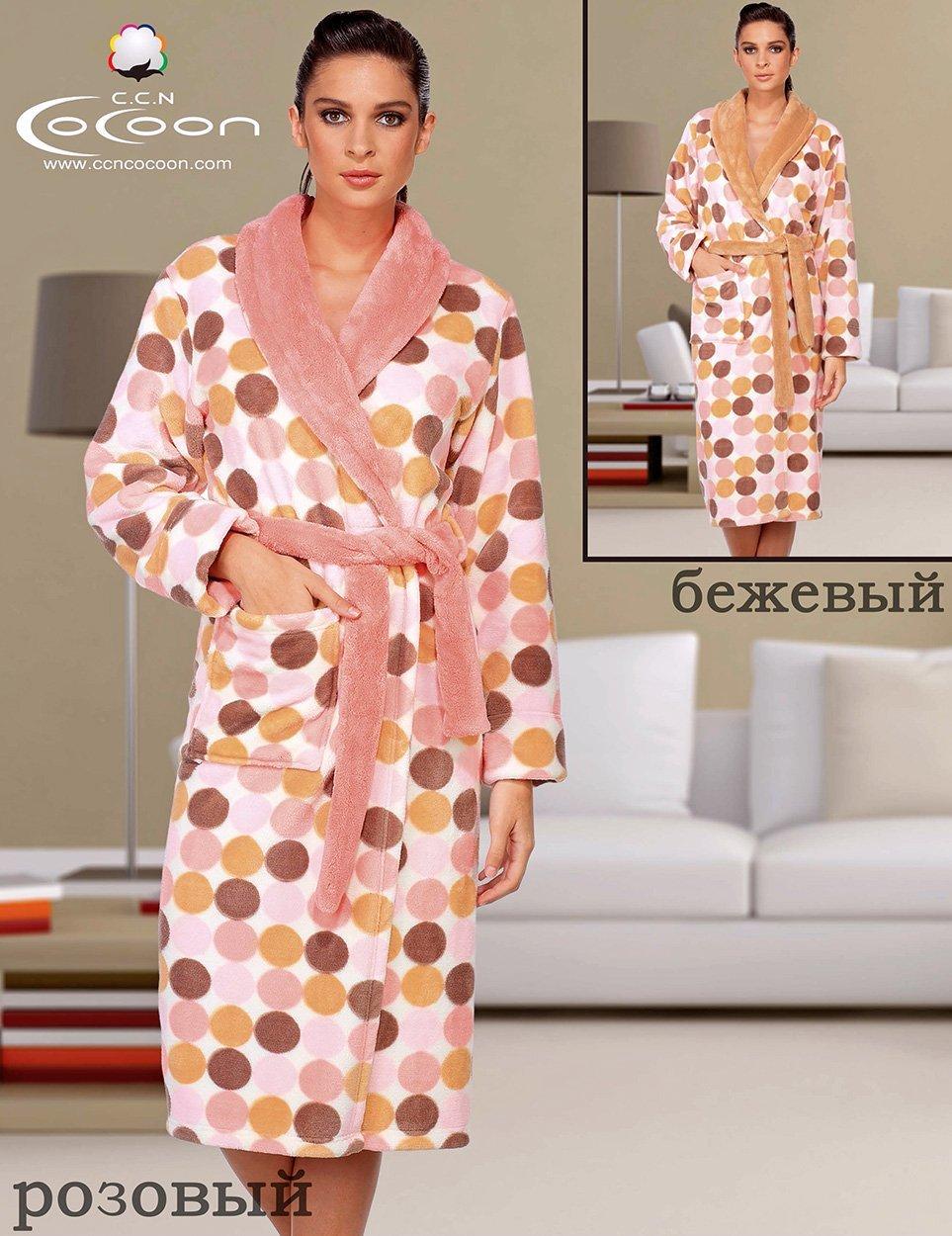 Женский халат из микрофибры 05-5027 Горох Cocoon