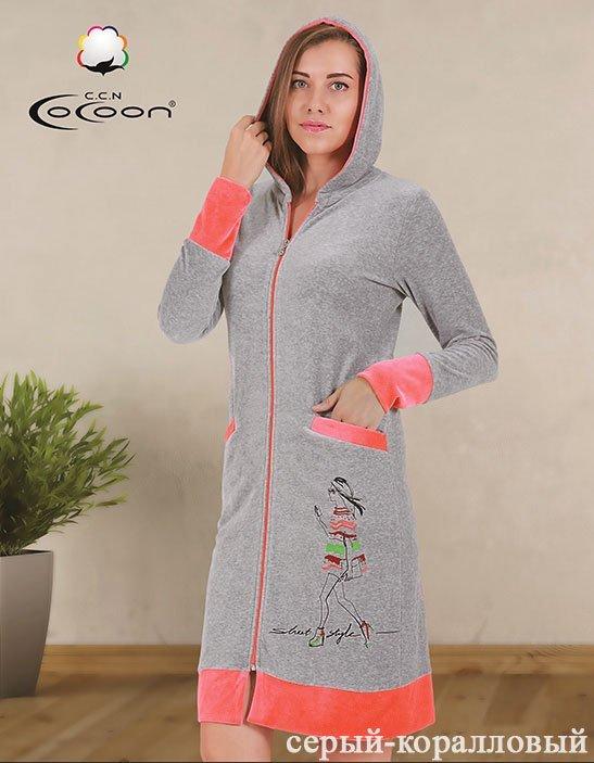 Женский халат средней длины из велюра, с капюшоном 12-1033 Cocoon