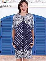 Женский трикотажный халат на молнии H-30263 Cocoon