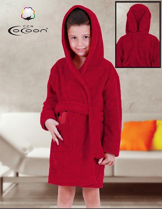 Детский халат из микрофибры бордовый Морковь С-503 Cocoon