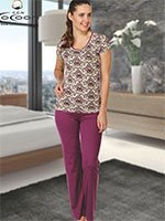 Пижама (футболка+брюки) KPJ-855 Узоры Cocoon secret