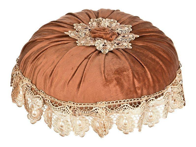 Подушка дек. 850-711-04 круглая 50 см с кружевом