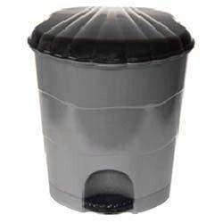 0507/16 Ведро серо-черное для мусора с педалью 7л.