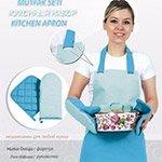 Кухонный набор 4 предмета голубой-синий Pinar F006