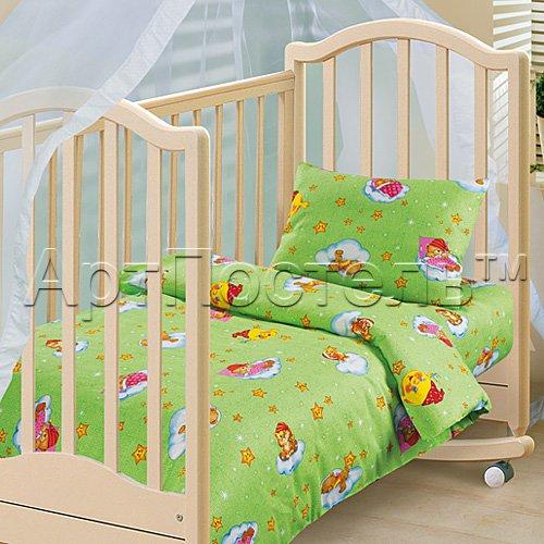 Облачко зеленый детское постельное белье Артпостель бязь