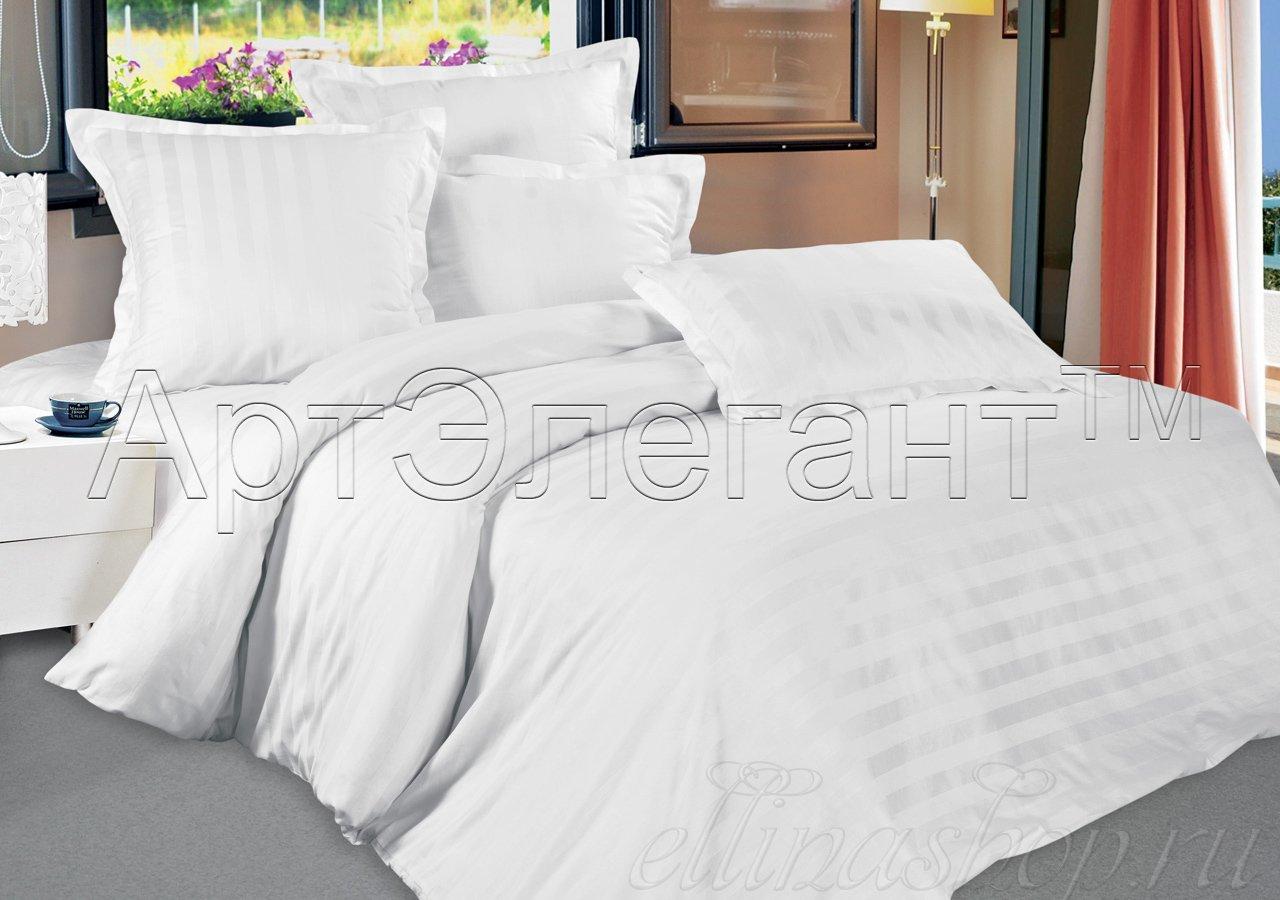 Страйп-сатин белое постельное белье Артпостель