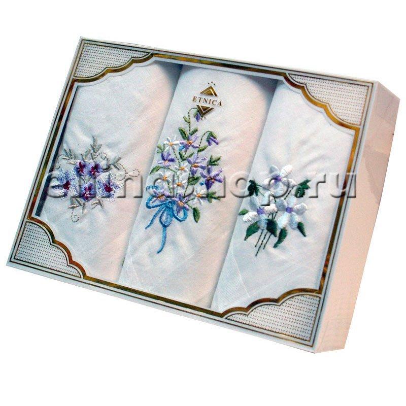 PV11 Набор носовых платков с вышивкой в подарочной упаковке (3шт.)