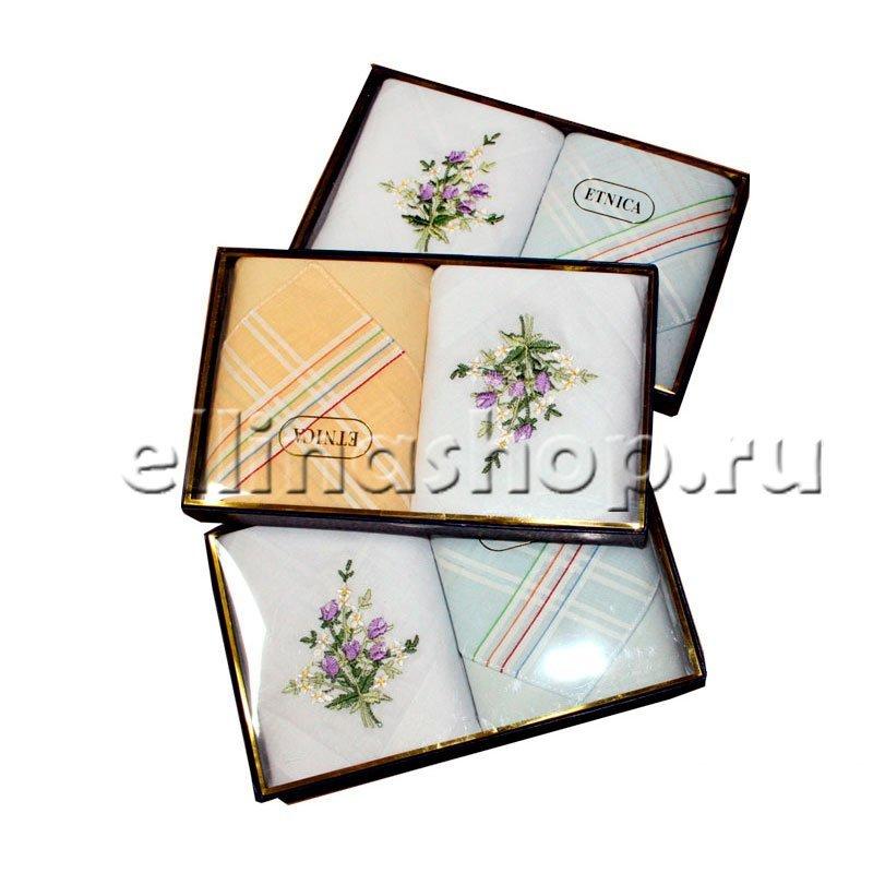 PV55 Набор носовых платков с вышивкой в подарочной упаковке (2шт.)