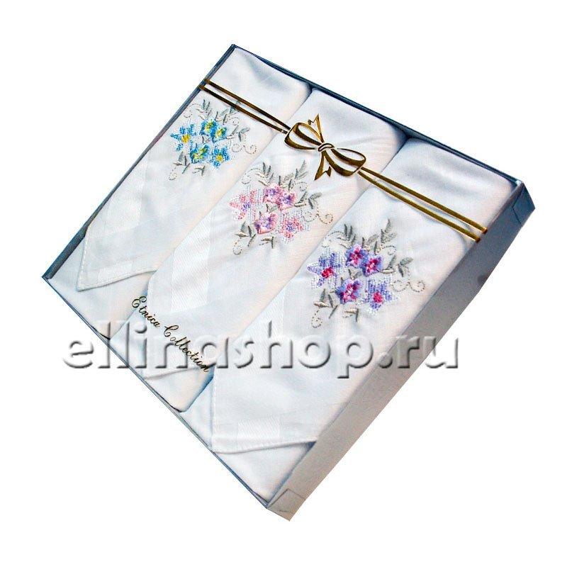 PV9 Набор носовых платков с вышивкой в подарочной упаковке (3шт.)